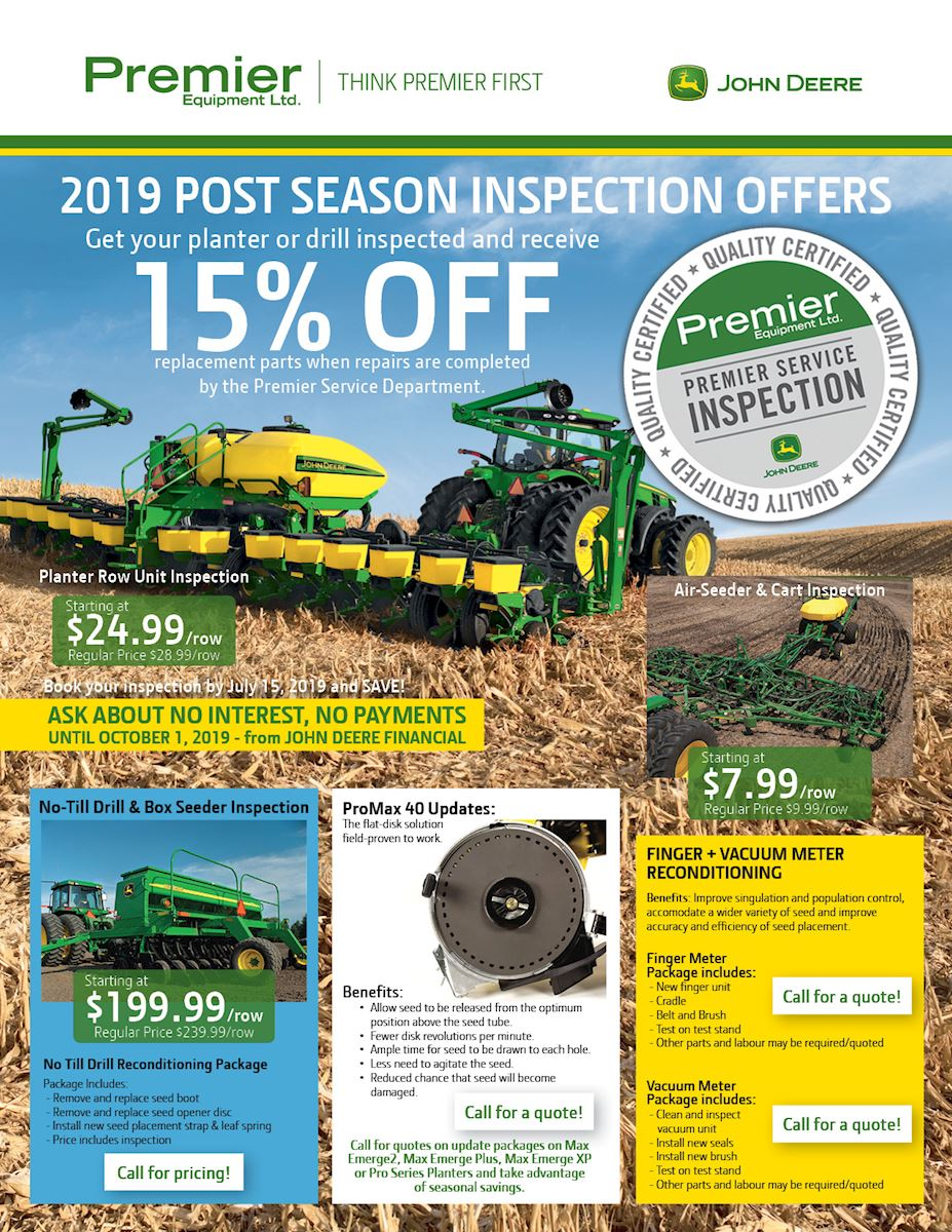 2019 Post season inspection offer - Planters and drills